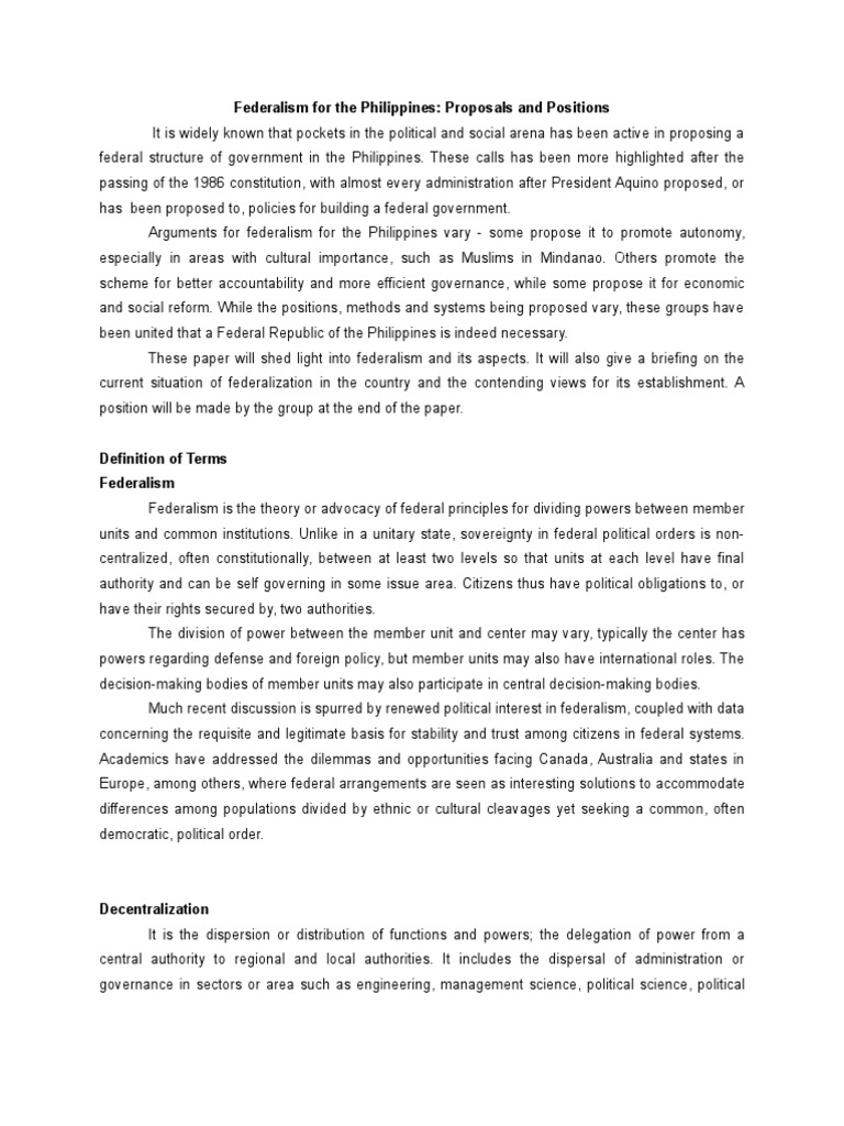 Beautiful Position Paper On Federalism In The Philippines Confederation Position Paper  On Federalism In The Philippines Confederation