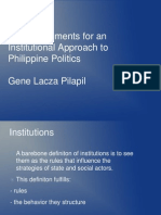Some Arguments for an Institutional Approach to Philippine Politics