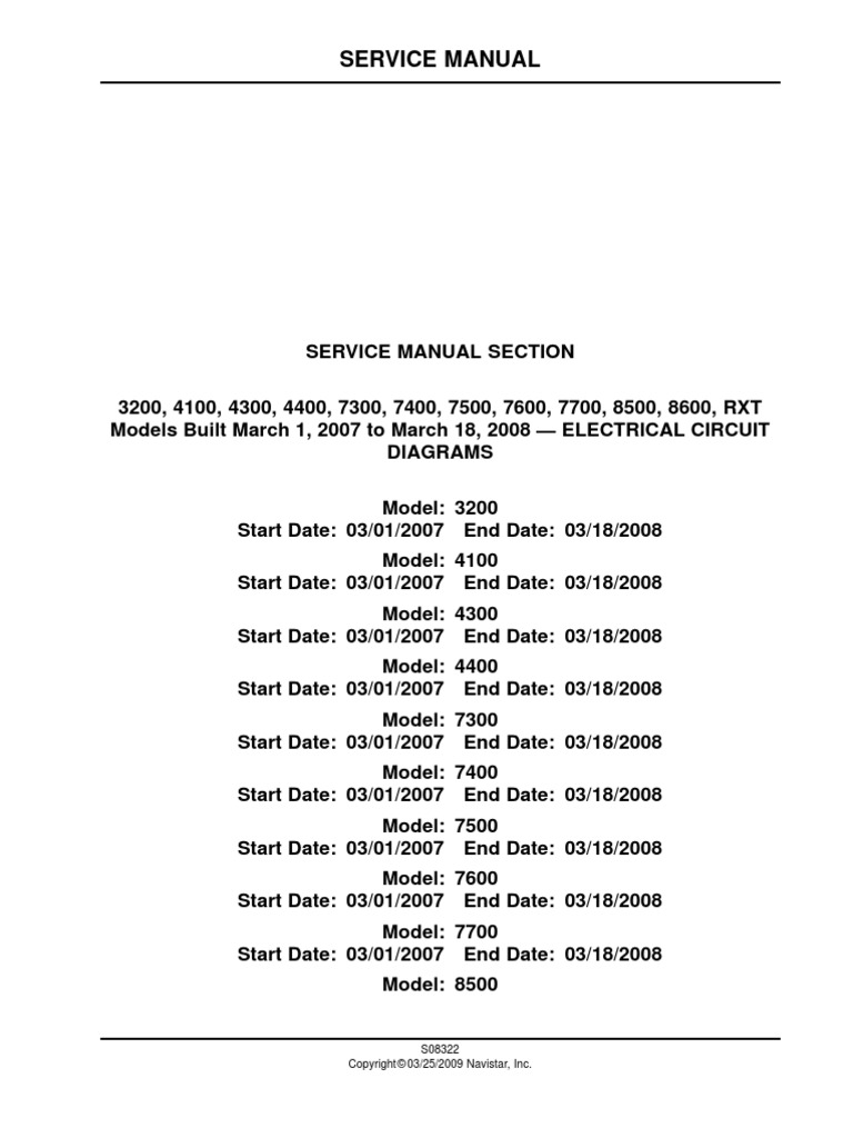International Service Manual ELECTRICAL CIRCUIT DIAGRAMS on navistar wiring diagrams