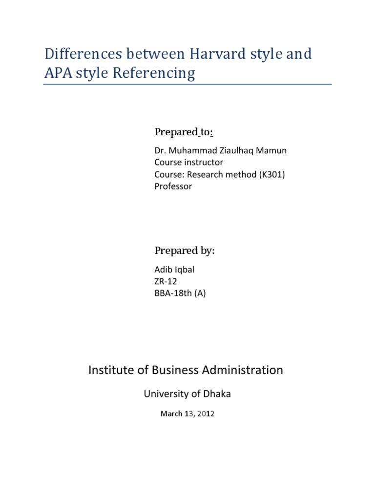 differences between harvard style and apa style referencing
