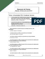 Resumen prensa CEU-UCH 26-06-2012