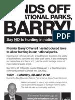 Community Protest Bushwalk Against Hunting in National Parks  Flyer