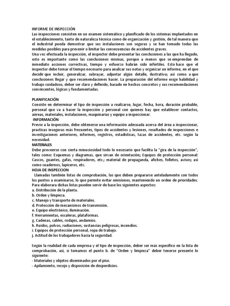 INFORME DE INSPECCIÓN