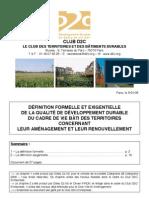 Qualité de développement Durable Des Territoires _définitions & Exigences Pour Le Cadre bâti _guide D2C2008