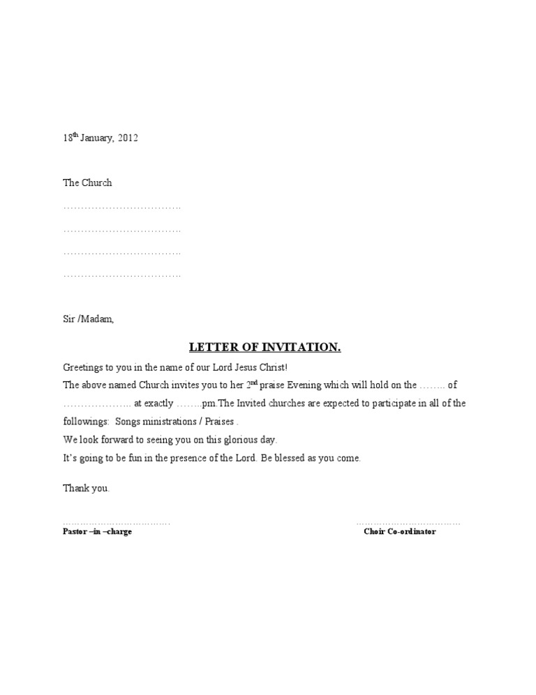 Sample Letter Invitation Competition.  Choir Letter of Invitation