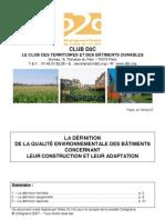 Qualité de développement Durable Des Territoires _définitions Schématique de La Qualité Globale Des bâtiments _guide D2C2007