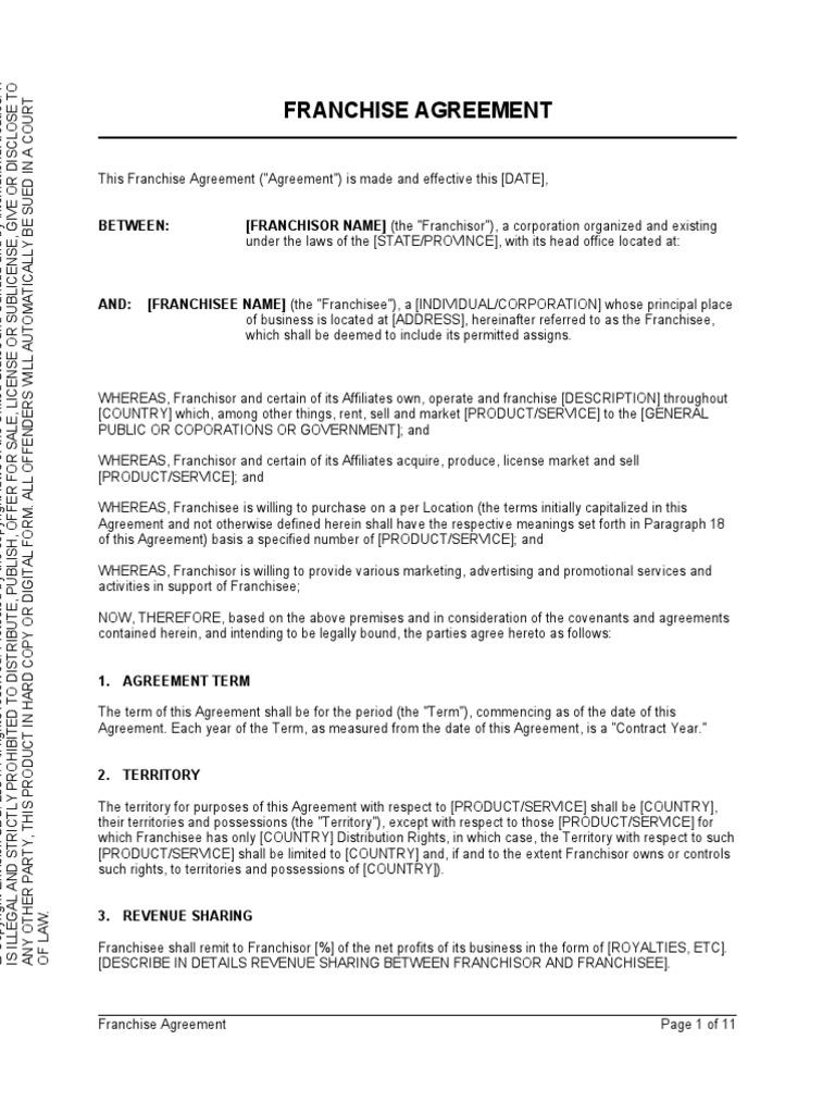 Franchise Agreement Franchising Indemnity