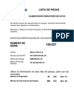 Listado de Partes y Piezas Alimentador Vibratorio MV40120 - 128