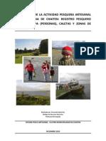 Descripción de la actividad pesquera artesanal en la comuna de Chaiten: RPA, Caletas y Zonas de trabajo. F. Gaete