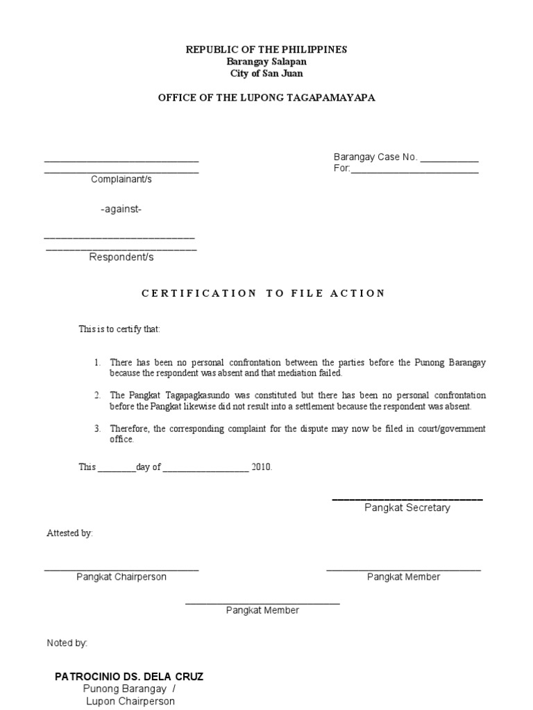 Certificate To File Action Format Complaint Mediation