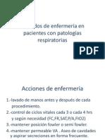 Cuidados de enfermería en pacientes con patologías respiratorias