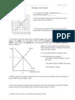 Worksheet Price Controls