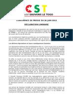 [CST] Déclaration Liminaire - Conférence de Presse du 26/06/2012