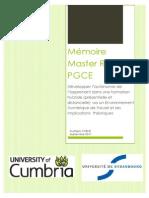 Mémoire Master FLE (professionnel)- PGCE