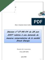 Décision relative à un demande de mesures conservatoires de la société Direct Energie
