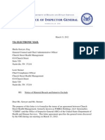 CSHM Breach of Corporate Integrity Agreement  March13 2012