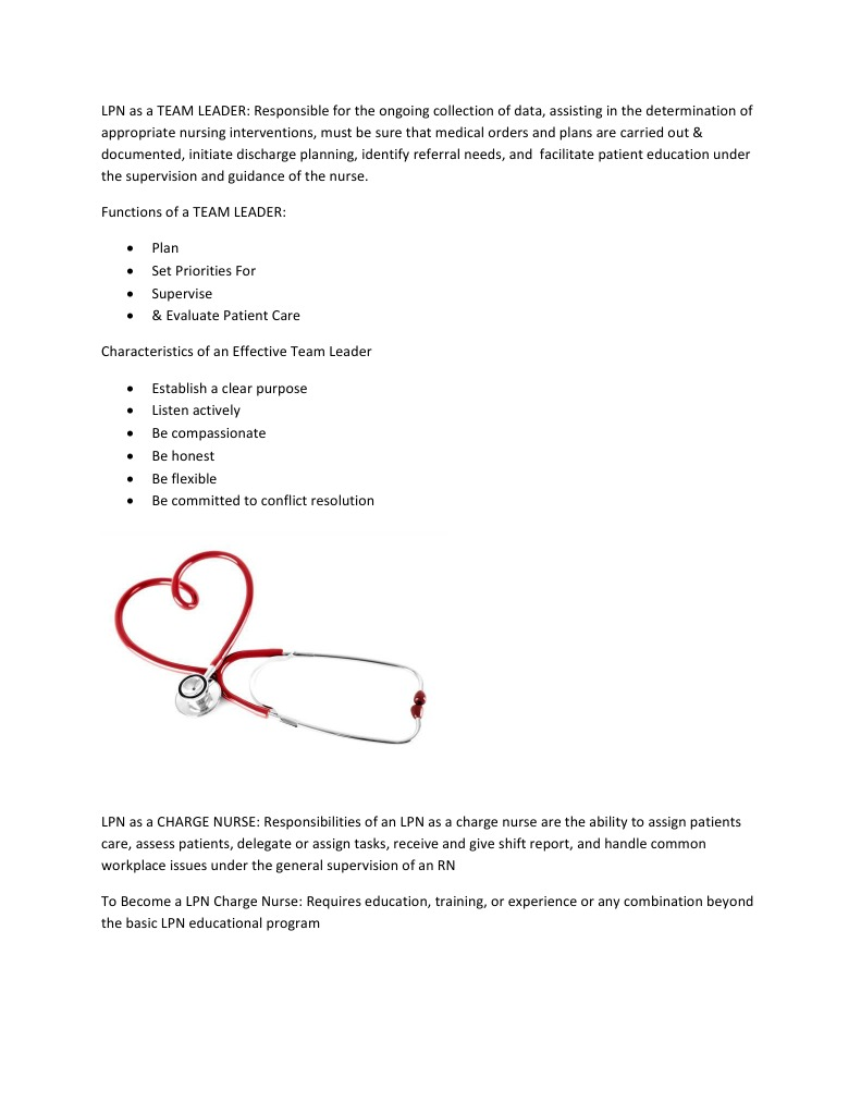 lpn as a team leader nursing decision making