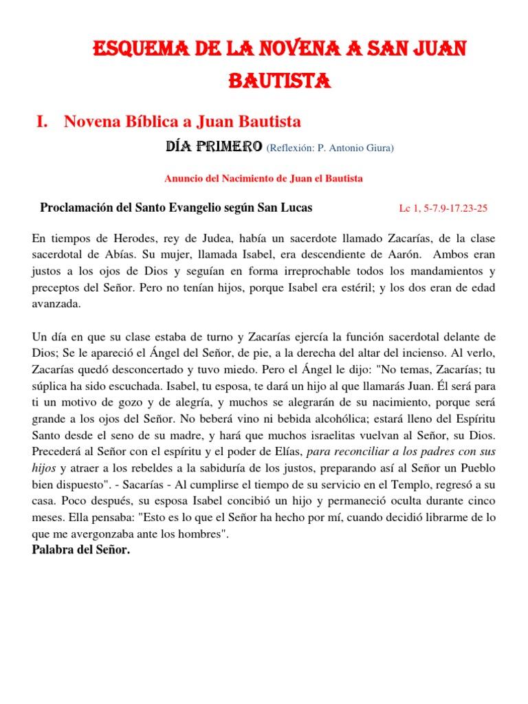 Esquema de La Novena a San Juan Bautista 2