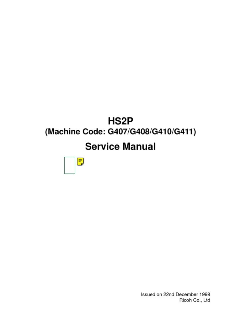 Ricoh 450DE Service Manual | Image Scanner | Charge Coupled