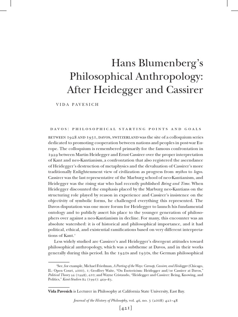 Hans Blumenbergs Philosophical Anthropology After Heidegger And