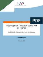 Argumentaire Depistage Vih en France