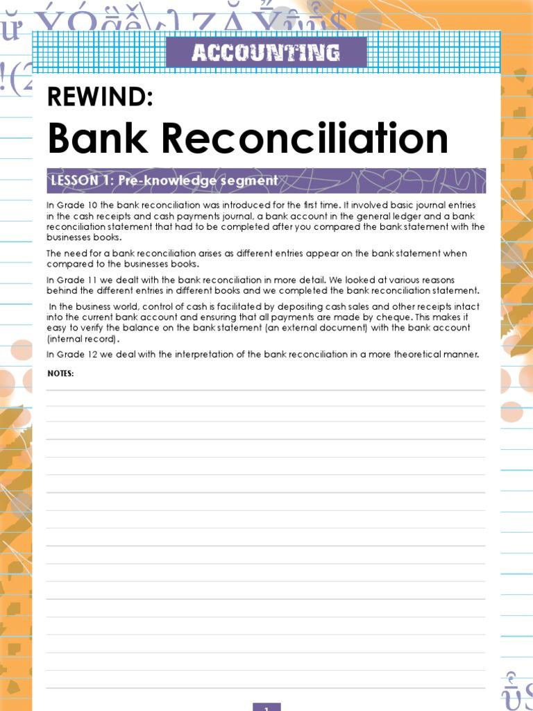 bank reconciliation lesson plan