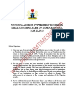 President Jonathan's May 29, 2012 Democracy Day National Address