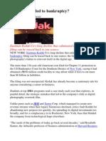 Kodak What Led to Bankruptcy