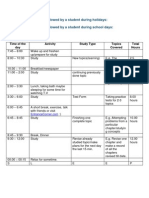 Time Table to Be Followed by a Student During Holidays