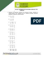 Taller Sistemas de Ecuaciones Lineales y No Lineales