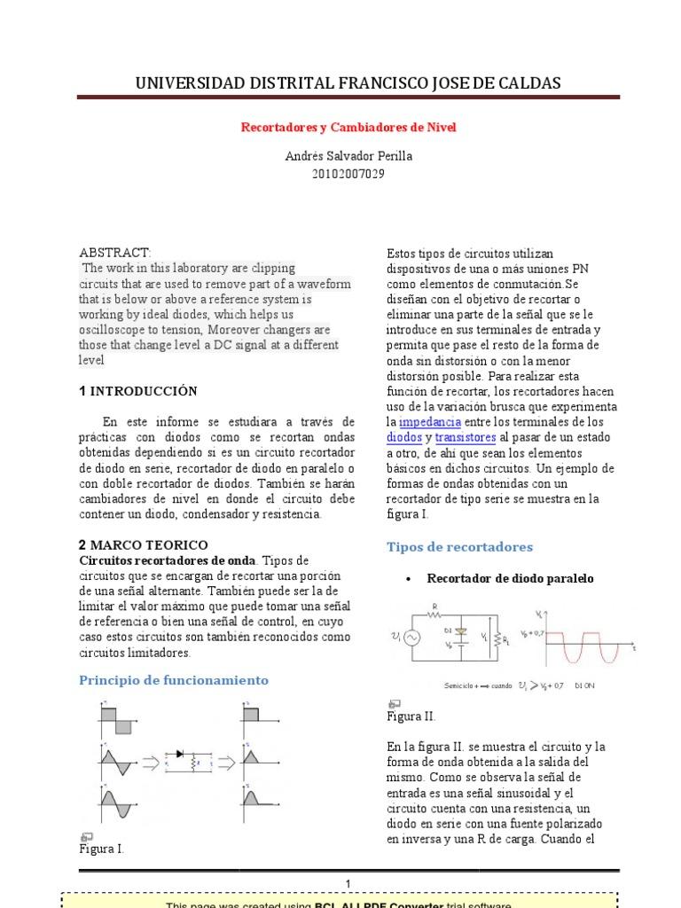 Circuito Recortador : Recortadores y cambiadores de nivel