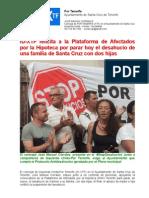 Nota de PrenIU-XTF felicita a la Plataforma de Afectados por la Hipoteca por parar hoy el desahucio de una familia de Santa Cruz con dos hijassa Desahucio de Carmen y Familia Parado