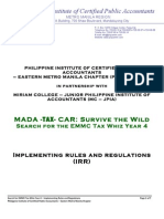 2012 Search for Tax Whiz Year 4 - Implementing Rules and Regulations