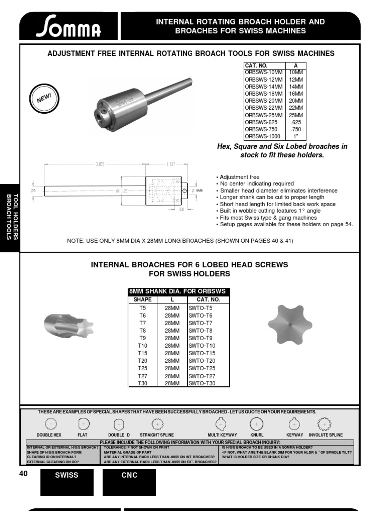 shank X 1-1//4 OAL Somma 5mm HEX Internal Rotary Broach with 8mm Dia Somma# HX00-5.0-F