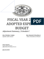 Fiscal Year 2013 Adopted Expense Budget, Adjustment Summary, Schedule C