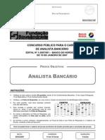 Prova Analista Bancario Bb