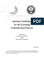 DOJ FTC Antitrust Guidelines for Licensing of Intellectual Property