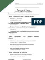 Resumen de Prensa CEU-UCH 28-06-2012