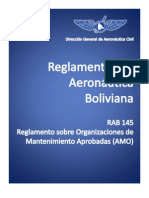 RAB_145_Reglamento Sobre Organizaciones de Mantenimiento Aprobadas (OMA)_Bolivia