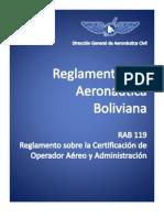RAB_119_Reglamento Sobre La Certificacion Del Operador Aereo (COA) y Administracion (Bolivia)