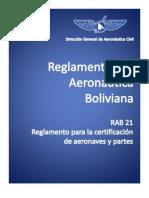 RAB_21_Reglamento Sobre Certificacion de Aeronaves y Partes (Bolivia)