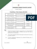 BTech BPharm Academic Calendar 2011-12