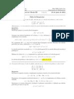 Corrección Examen Final, Cálculo III, 25 de junio de 2012