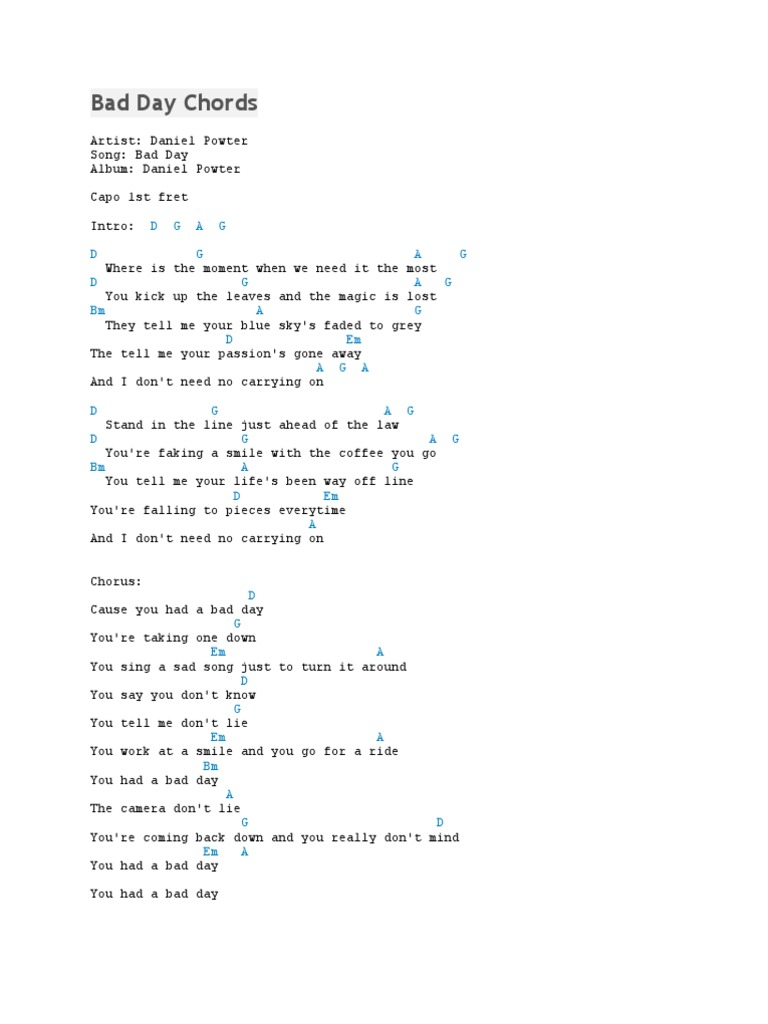 Lyrics You Had A Bad Day Daniel Powter