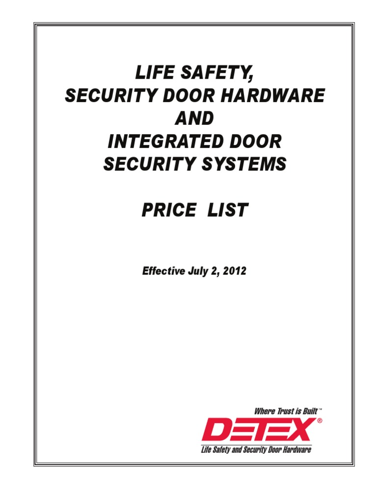 Detex 2012 Price List Door Lock Security Device Electric Latch Retraction Wiring Diagram