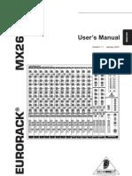 Behringer MX2642A Mixer Manual