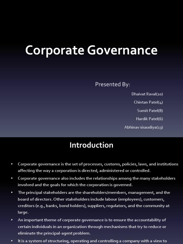essay on corporate governance Three essays in corporate governance by vishaal rabindranauth anand baulkaran bba, university of new brunswick, 2004 mba, university of.