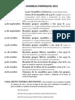FECHAS ASAMBLEA PARROQUIAL 2012