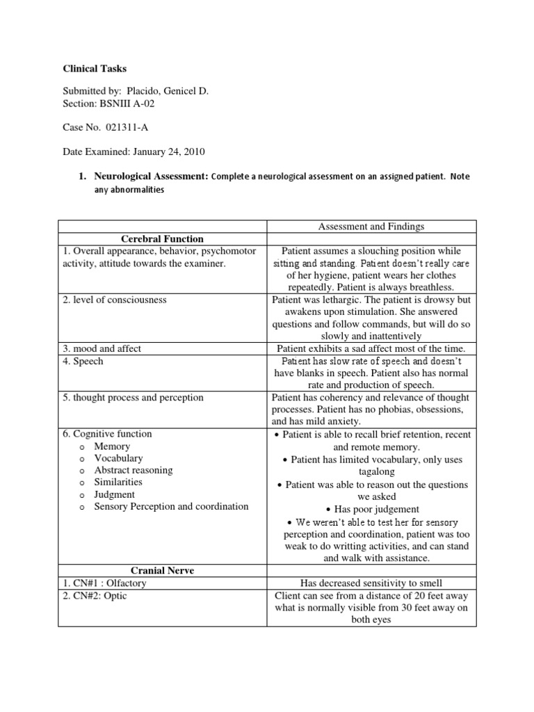 Neurological Assessment | Senses | Balance (Ability)