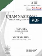 Pembahasan Soal UN Matematika SMA Program IPA 2012 Paket A18 Zona D